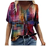 Pas Cher T-Shirt Femme Sexy Chic Impression Ete Impression Col V Grande Taille Tee Shirt Ample Haut Sexy Mode Top Tunique Blouse