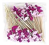 Keleily palitos de fruta palitos de cóctel de bambú palillos de dientes cake topper sandwich creativo banderas de bricolaje para suministros de decoración de banquetes de boda (100 pcs,flamenco)