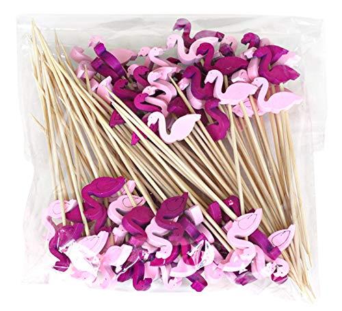 Keleily Obst sticks bambus cocktail sticks cartoon zahnstocher kuchendeckel kreative sandwich diy fahnen für halloween weihnachten hochzeit dekor liefert (100 stücke,Flamingo)