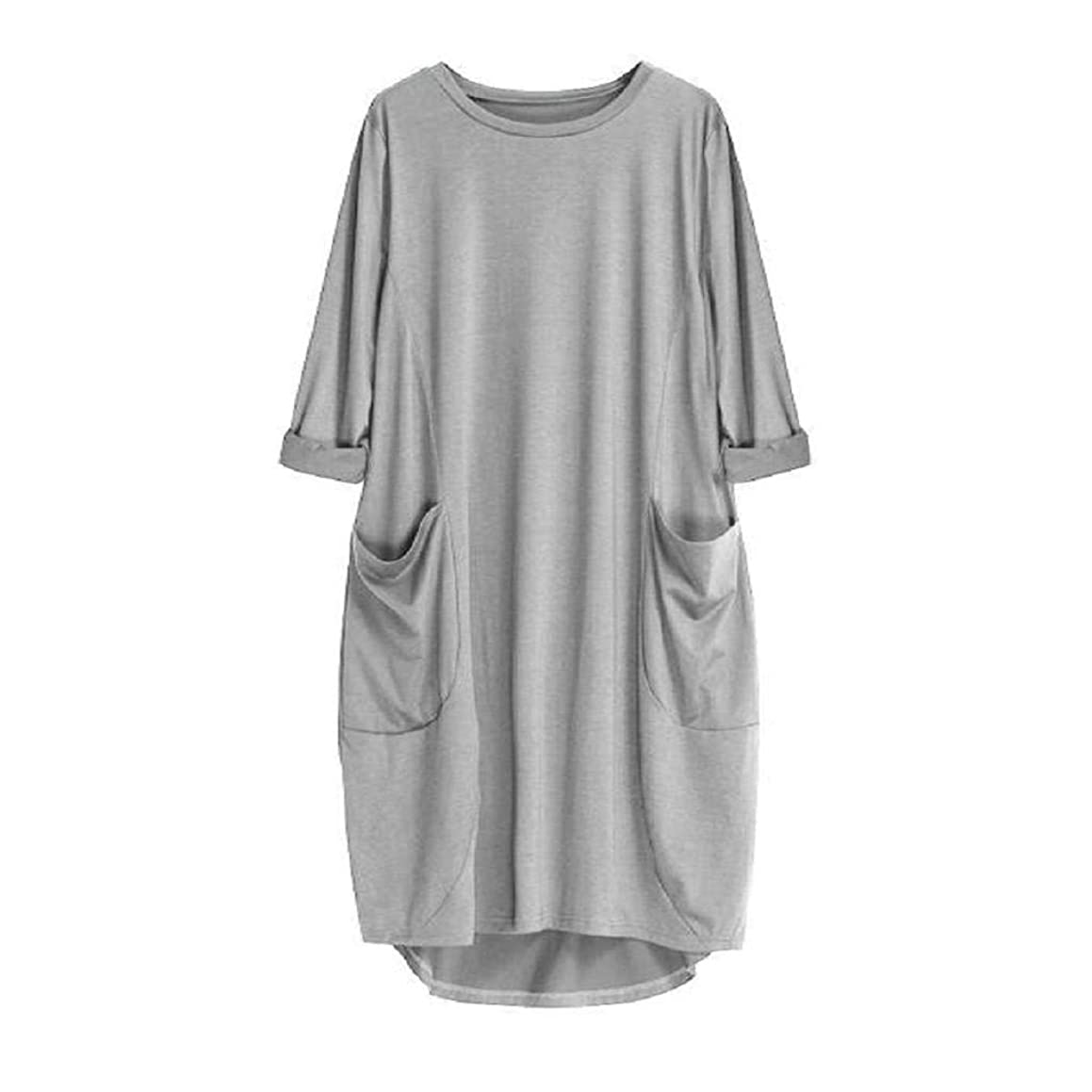Women's Dresses-Pocket Loose Dress Ladies Crew Neck Casual Long Tops Plus Size