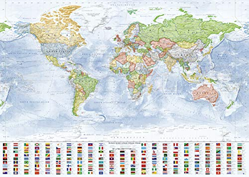 J.Bauer Karten Mappa del Mondo (Politica), 140x100 cm, in Inglese, Edizione 2019 [Poster]