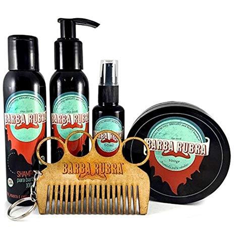 Kit Para Barba Rubra Óleo + Shampoo + Balm + Pomada E Pente