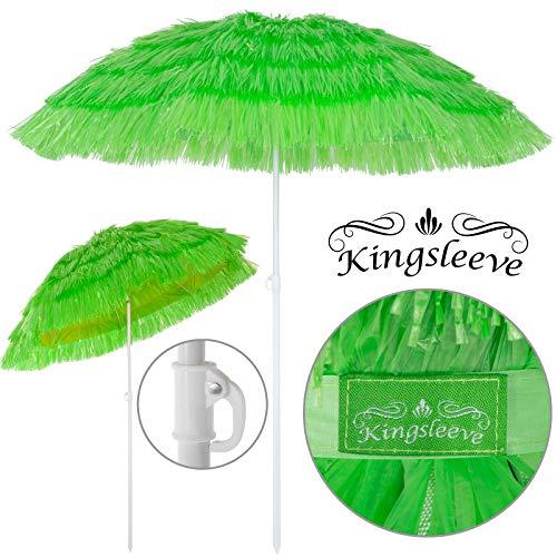 Kingsleeve Ombrellone da spiaggia Mare Hawaii in Paglia sintetica Ø160cm Altezza: 180 cm inclinabile regolabile robusto e stabile verde