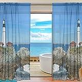 55x84 Pulgadas 2 Paneles Sirena para el hogar Dormitorio Sala de Estar Decoración Cortinas Ventana Cortina Estampado Semi Transparente Retro Tulle Cortina Transparente Seacoast Lighthouse Blue Iland