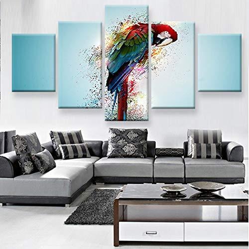 XGDDSS 5 Dipinti su Tela 5 Pezzi Animali Moderni Poster da Parete per Soggiorno Colorful Parrot HD Canvas Painting Home Decor Immagini modulari Frameless