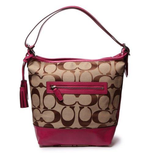 Hot Sale Coach Legacy Signature Convertible Hobo Duffle Handbag 21149 Khaki Berry