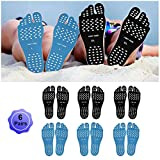 Beach Foot Pads Barefoot Adhesive Invisible Shoes Stick on Foot Pad Stickers Stick on Soles Anti-Slip Waterproof Silicone Unisex Footing Pad For Surfing Yoga Swimming 6 Pack Black Blue 7-9.5 Size