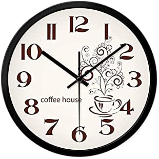 Customer reviews DEED Wall Clock-Vintage Mute Metal Accurate Clock 12 Inches / 14 Inches Living Room Kitchen Restaurant Cafe Creative Modern Minimalist Mute Wall Clock,12 Inches,Silver Border