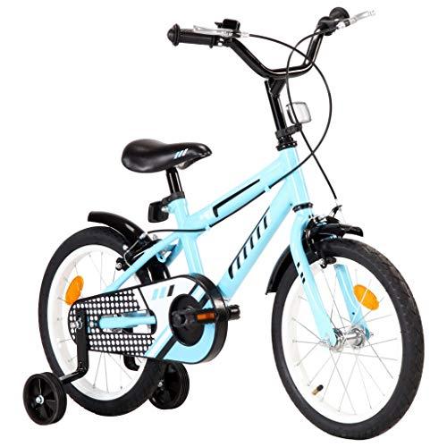 Festnight Bicicleta para Niños 16 Pulgadas Bicicleta Infantil para Niños y Niñas a Partir de 4 Años Negro y Azul