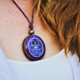 Orgonite necklaces by Seed of Life - Healing crystals with sacred geometry for EMF protection - Orgone pendant with amethyst moonstone and pink quartz, meditation, yoga, reiki, handmade, Arte Orgones