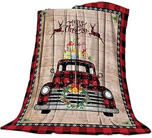 Edredón ligero de microfibra para mujer, suave, suave, mullido, cálido, perfecto para cama, sofá, Navidad, un camión de rejilla roja con regalos en madera, 40 x 50 pulgadas