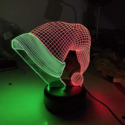 Kerstmuts 3D illusie lamp nachtlampje tafellamp, 7 kleuren auto wijzigen touch schakelaar bureau decoratie bedlampje met afstandsbediening voor kinderen Kerstmis verjaardagscadeau