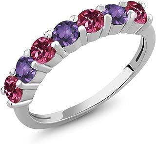 Gem Stone King 1.05 Ct Round Pink Tourmaline Purple Amethyst 925 Sterling Silver Anniversary Ring
