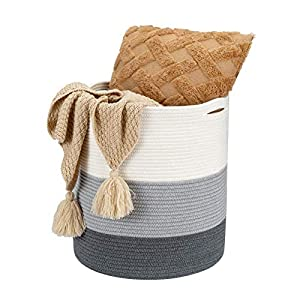 Haidms Large Laundry Hamper Storage Basket/Woven Cotton Rope Collapsible Basket for Blankets Baby Toys with Handles
