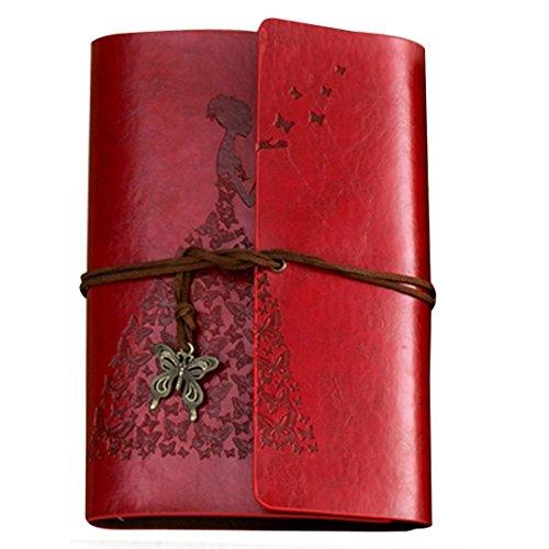 OFKPO Diario Taccuino del Cuoio Copertura di Stile dell'Annata con Il Vestito dalla Farfalla per Regalo di Compleanno/Laurea/Nozze/Anniversario per Donna Bambino(Rosso)