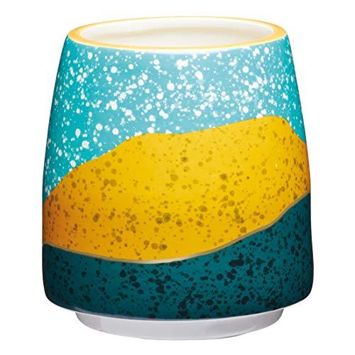 KitchenCraft Kleiner Blumentopf für den Innenbereich, dekoratives Farbblock-Design, Keramik, Mehrfarbig, 11 x 12 cm
