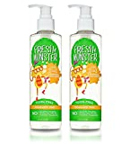 Fresh Monster 2-in-1 Kids Shampoo & Conditioner, Fragrance Free (2 Pack, 8oz/ea) - Toxin-Free - Sulfate-Free - Paraben-Free - Natural Botanical Extracts - Hypoallergenic - Natural Kid Shampoo