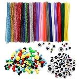 TOAOB 320 Stück Mehrfarbig Pfeifenreiniger Chenilledraht Pompons und Selbstklebend Wackelaugen Verschiedene Größen für Handwerk...