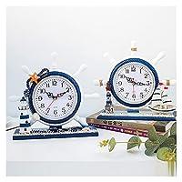 目覚まし時計 地中海の表時計クリエイティブ海賊船の税金の木製時計リビングルームベッドルーム海洋装飾装飾品工芸品 (Farbe : 3)