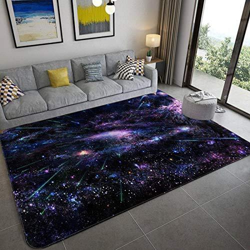 CVMFE Fluffy Rug Galaxy Space Stars Pattern Carpets For Living Room Bedroom Area Rug Kids Room Play Mat Soft Flannel 3D Printed Home Large Carpet-Nine_80X120Cm