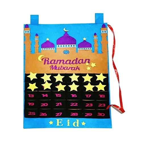 NC Kareem Ramadan Decorations Eid Mubarak Calendário Do Advento Pendurado Na Parede Calendário de Feltro Dourado Adesivo Estrela Muçulmana - Azul, Tamanho real