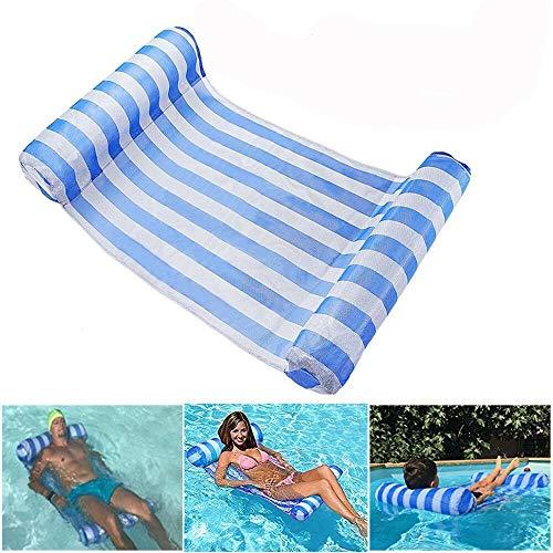 ACMEDE Home Wasser Hängematte Lounge Stuhl Luftmatratze Schwimmende Wasser Bett Matte Swim Aufblasbare Kopf für Erwachsene und Kinder blau 120kg