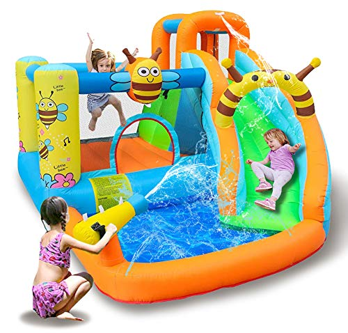 TiliKuly Kids Inflatable Water Slides Bounce House with 450w Blower Bee Spray Water Pool Inflatable Bouncy House for Kids Outdoor Party Jumping Bounce Castle Houses Water Inflatable Bounce Houses