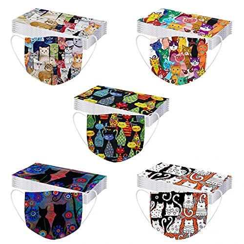 50 unidades de protectores bucales desechables de 3 capas con diseño multicolor para la boca y la nariz, con dibujos animados, transpirables, Multicolor 07., Talla única