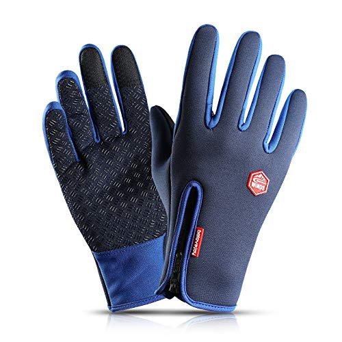 Hanggg Wasserdichte Handschuhe Outdoor-Reithandschuhe Winter-Touchscreen winddichte Handschuhe Reißverschluss Sport warm und Samt Bergsteigen Skifahren