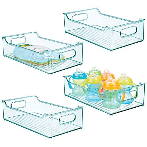 mDesign Wide Storage Organizer Container Bin, Handles for Kids/Child Supplies in Kitchen, Pantry, Nursery, Bedroom, Playroom - Holds Snacks, Bottles, Baby Food, Durable, 14.5