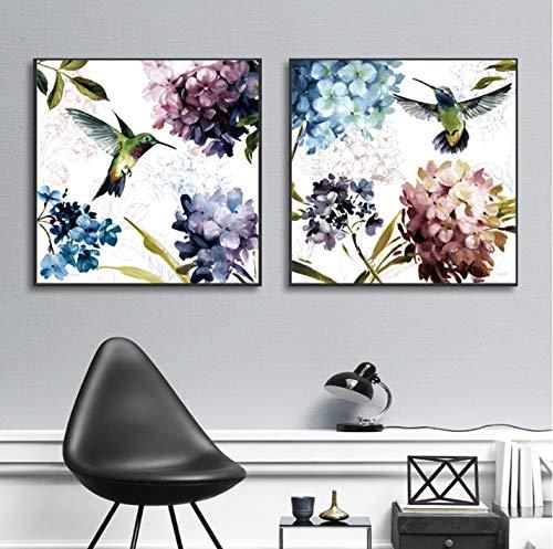 REDWPQ Pequeñas Flores de colibrí de Hortensia púrpura Fresca Pintura sin Marco Lienzo Cuadros...