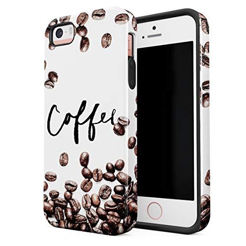 Cover Universe Funda para iPhone 5 & 5s & SE Coffee Beans, Resistente a los Golpes, Carcasa Dura de PC de 2 Capas + Funda Protectora de Diseño Híbrido de TPU