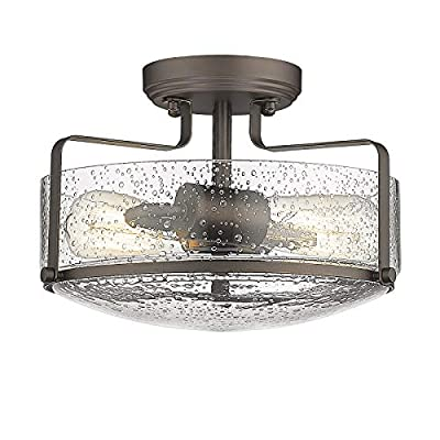 Semi Flush Mount Ceiling Light, HWH 12 inch Farmhouse Vintage Close to Ceiling Light Fixture with Seeded Glass Shade, Oil Rubbed Bronze Finish, 5HZG41F ORB