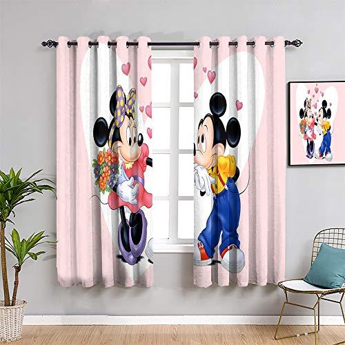 Mick-ey Mou-se - Cortina oscurecida para habitación (213,4 cm de largo, diseño de Mickey Minnie Mouse como regalo para niños, tela impermeable de 108 cm de ancho x 84 pulgadas)