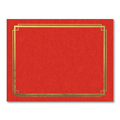 PaperDirect Gold Foil Border Red Certificate Jackets, 9-½ x 12 Inch Folded, Holds 8-½ x 11 Inch Certificates, 10 Count