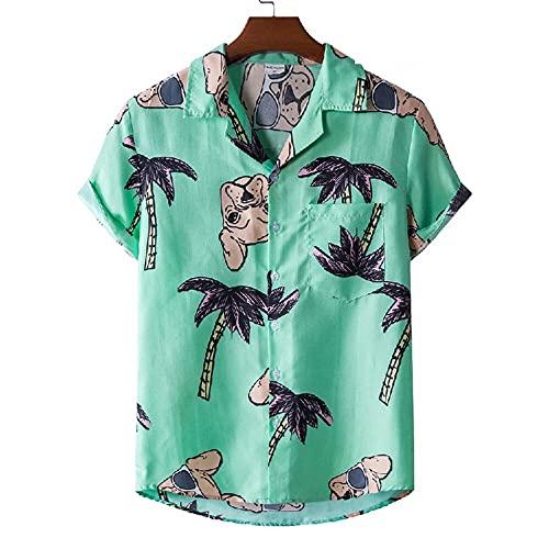 T-Shirt Hombre Transpirable con Cuello En V Estampado Moda Hombres Shirt Ocio Bolsillos Verano Botón Tapeta Manga Corta Hombres Shirt Playa Personalidad Hawaii Hombres Shirt B-XH35 L