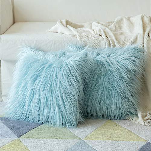 MIULEE Fluffy Cushion Cover Faux Fur Throw Soft Solid Decorative Square Plush Mongolian Cute Pillow Case For Sofa Bedroom Car 18 x 18 Inch 45 x 45 cm Aqua Blue Set of 2
