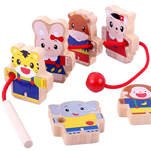 Dirgee Holz Block Puzzle Threading Kreative Spielzeug Große Holzspielzeug Kinder Große Spitze Perle Faden Faden Früchte Teller 5 Stück (Farbe: Mehrfarbig, Größe: 3.5x4cm)