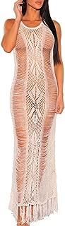 Women Sexy Soft Lace Stretch Crochet Hollow Beach Long Maxi Dress Tassel Swimsuit Bikini Cover Up Party Dress
