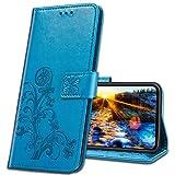 MRSTER Handyhülle für Moto E6 Plus Hülle, Schutzhüllen aus Klappetui mit Kreditkartenhaltern, Ständer, Magnetverschluss Tasche Kompatibel für Motorola Moto E6 Plus. Luck Clover Blue