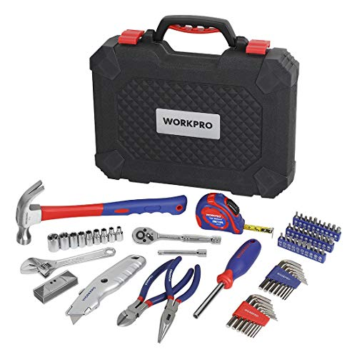 WORKPRO 74-Piece Home Repair Tool Kit, General Household Tool Kit for Home Maintenance, DIY Projects with Plastic Toolbox Storage Case, W009085A