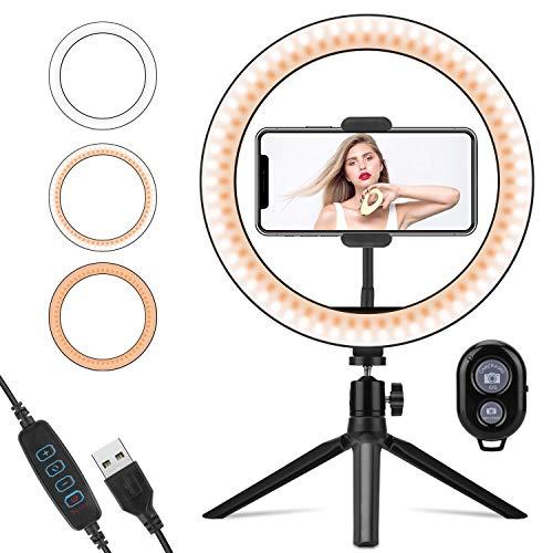 LEDリングライト PEYOU 外径10インチ 3色モード付き USB卓上スタンド 卓上ライト Bluetoothリモコン 高輝度LED スマホスタンド付き 10段階調光 携帯便利 Youtubeビデオ/自撮り写真/美容化粧/カメラ撮影 ブラケットライト