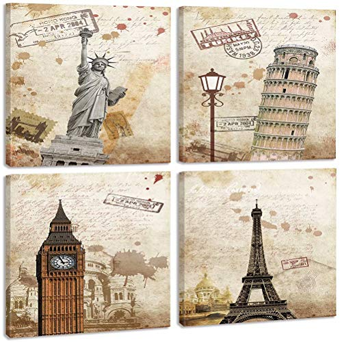 TONZOM Canvas Wall Art Print on Canvas Stretched and Framed to Hand-Statue of Liberty, Leaning Tower of Pisa, Big Ben, Eiffel Tower(12x12inchx4pcs)