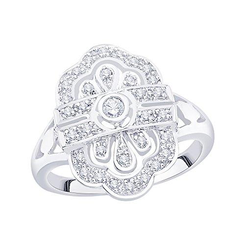 Anillo de plata de ley con diamante de moda (1/5 quilates) (I-Color, SI3/I1-Clarity)