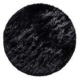 Alfombra Salón Pelo Largo Moderna Redonda Piel Sintética Mullida Monocolor, tamaño:Ø 120 cm Redon, Color:Negro