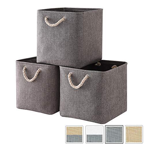 MANGATA Faltbare Canvas Aufbewahrungsbox, Stoffkorb (33 x 33 x 33 cm) für Spielzeug, Handtücher und Kleidung, Grau (3er Pack)