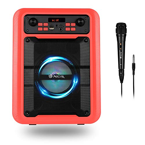 NGS Roller Lingo Red - Altavoz Portátil de 20W Compatible con Tecnología Bluetooth 5.0 y True Wireless Stereo (USB/AUX/Micro SD) Incluye micrófono. Color Rojo