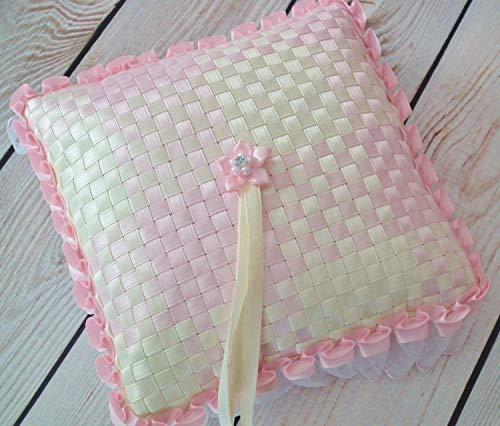 Ivory and pink satin ribbon ring bearer pillow, ready to ship