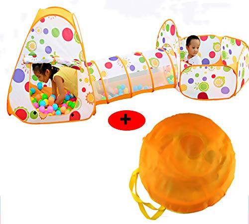 3-in-1 Speeltunnel-kruiptentspel voor kinderen, opvouwbare speeltent Game-speelhuis voor kinderen buiten/binnen met kindertent + tunnelspel + ballenbad (inclusief gekleurde ballen),Tent + Tote Bag