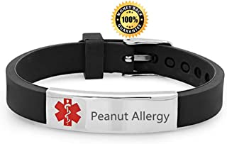 Sunling Custom Adjustable Silicon Medical Alert Food Allergy Awareness Bracelet for Women Men Kids,Free Engraving,Daily Life Emergency Saver for Son,Daughter,Parents